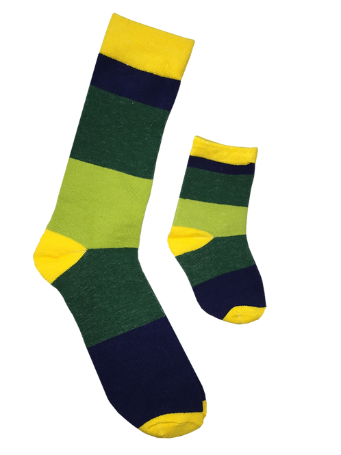 Daddy and Me Socks, Yellow Greens - Wholesale
