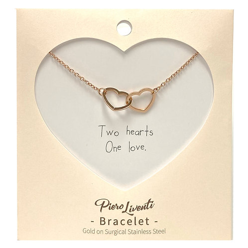 2 Hearts 1 Love bracelet, PVD Rose Gold, 316 Stainless