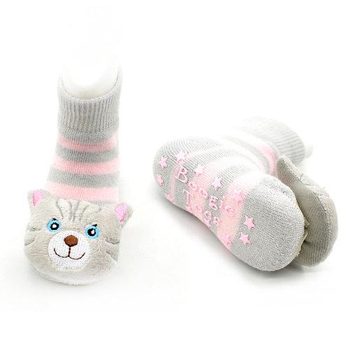 Gray Pink Cat Boogie Toes 3D Baby Bootie Rattle Sock