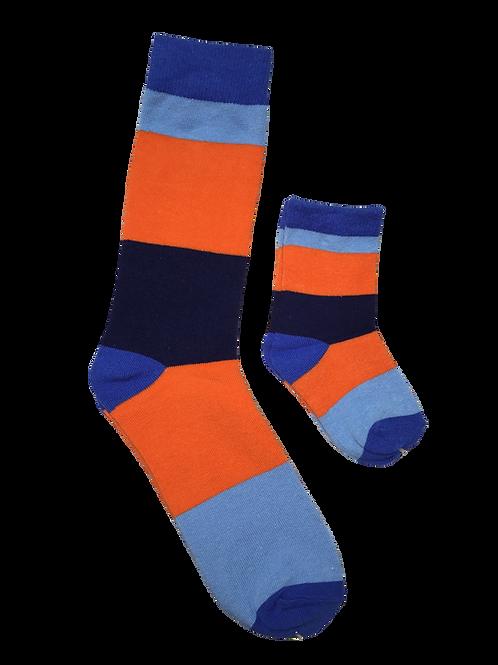 Daddy and Me Socks, Orange Blues - Wholesale