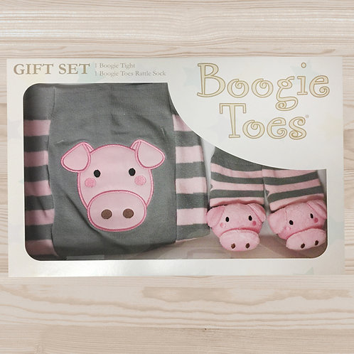 Gray Pig Tight Rattle Gift Box 6-12M - Wholesale
