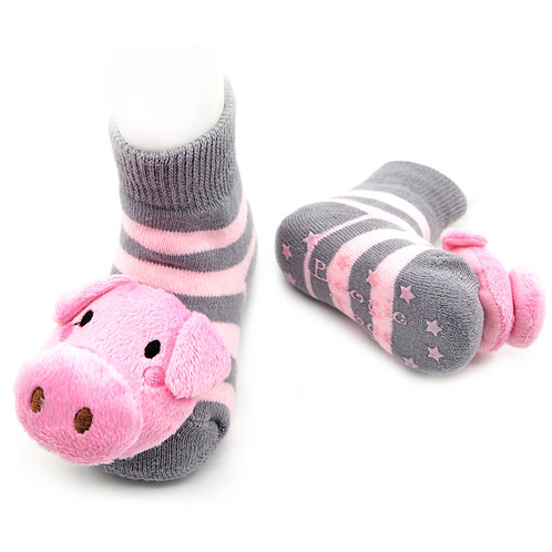 Pink/Gray Pig Boogie Toes Rattle Socks