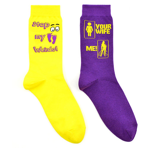 Wife Weirdo Foot Fetish Ladies Lounge 2 Pair Women Sock Set Flat