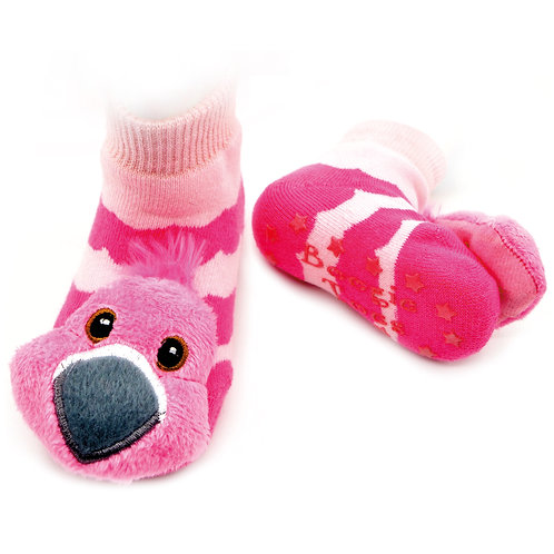 Pink Flamingo Boogie Toes Rattle Socks - Wholesale