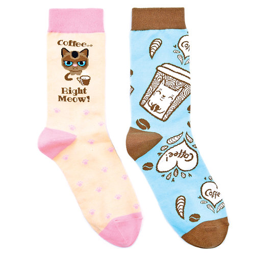 Coffee Cat Meow Ladies Lounge 2 Pair Women Sock Set Flat