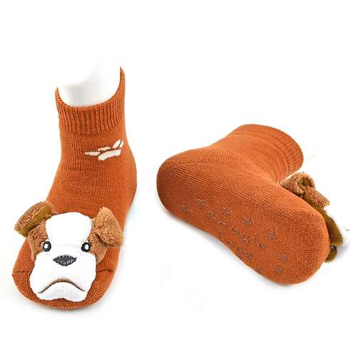 Bulldog Boogie Toes 3D Baby Bootie Rattle Sock