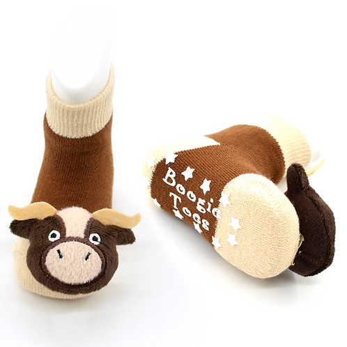 Bull Boogie Toes 3D Baby Bootie Rattle Sock