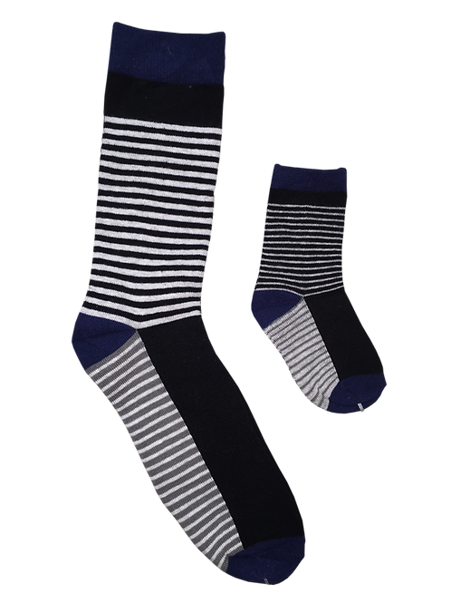 Daddy & Me Socks, Navy Thin Stripes