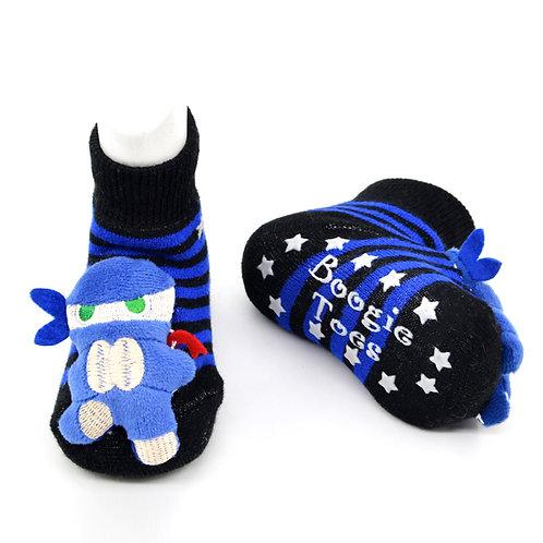 Ninja Boogie Toes 3D Baby Bootie Rattle Sock