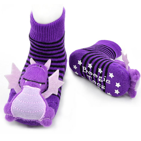 Purple Dragon Boogie Toes Rattle Socks