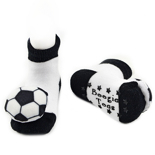 Soccer Boogie Toes 3D Baby Bootie Rattle Sock