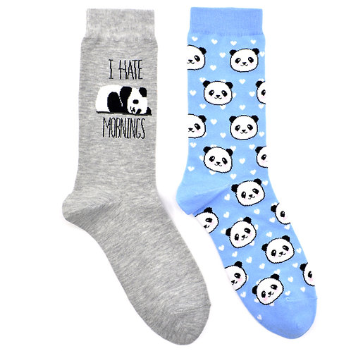 Sleepy Mornings Panda Ladies Lounge 2 Pair Women Sock Set Flat
