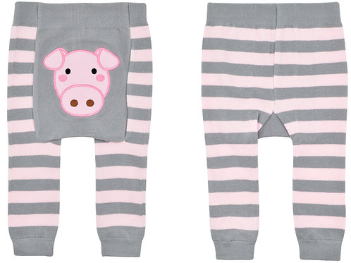 Gray Pink Pig Boogie Tights Baby Diaper Pants