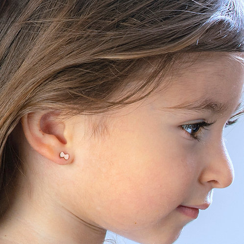 Bow (small) Boogie Lobes Screwback Baby Earrings - Rose Gold / Stainless 316
