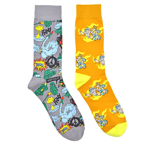 The Hippie War Peace Man Cave 2 Pair Men Sock Set Flat