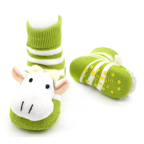 Green Cow Boogie Toes Rattle Socks
