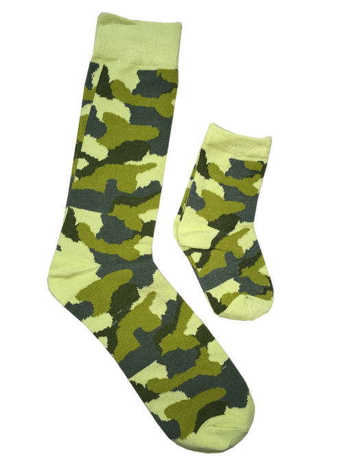 Daddy and  Me Socks, Military Green - Wholesale