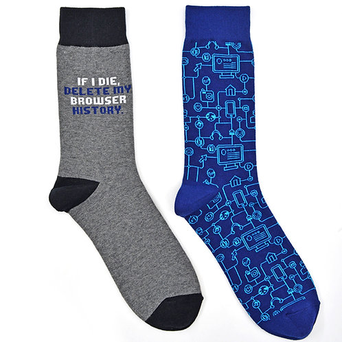 Geek Network Internet Browser Man Cave 2 Pair Men Sock Set Flat