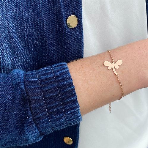 Dragonfly bracelet, PVD Rose Gold, 316 Stainless Steel