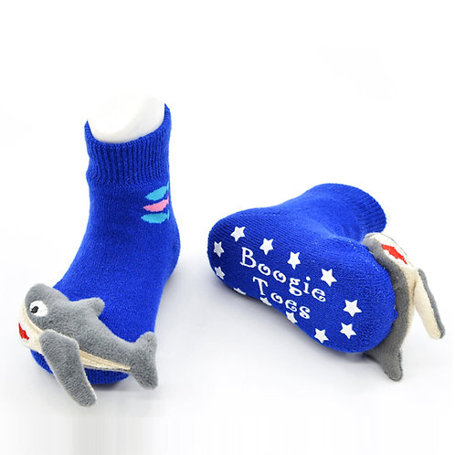 Blue Shark Boogie Toes 3D Baby Bootie Rattle Sock