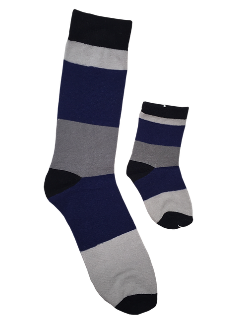 Daddy and Me Socks, Blue Gray Stripes - Wholesale