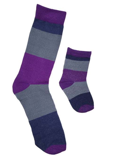 Daddy and Me Socks, Purple Gray Stripes - Wholesale
