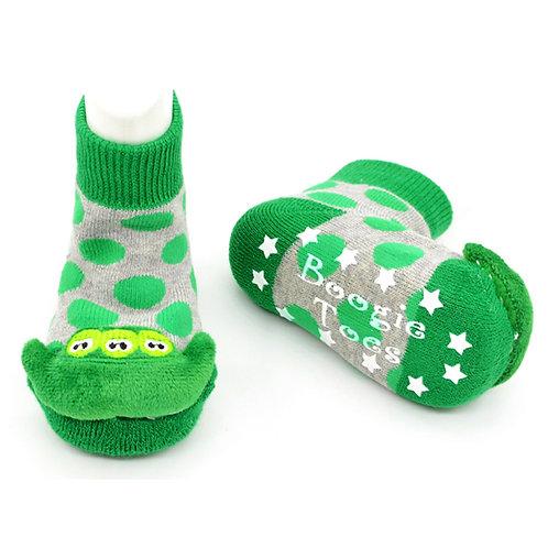 Green Peas Boogie Toes 3D Baby Bootie Rattle Sock