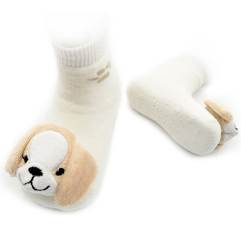 Beige Puppy Boogie Toes Rattle Socks - Wholesale