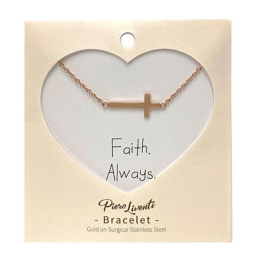 Cross bracelet, PVD Rose Gold, 316 Stainless Steel