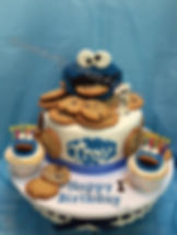 Cookie Monster Cake with Cookies
