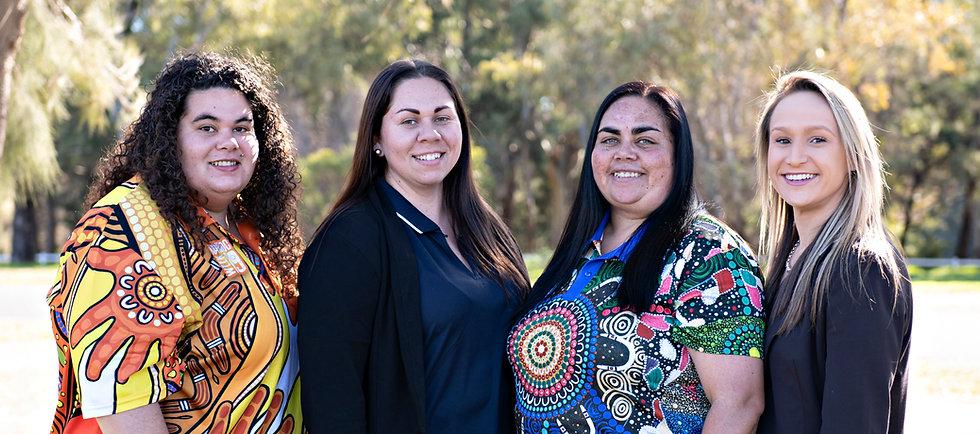A group photo of our wonderful Aboriginal staff - Mell, Janaya, Wanita and Tayla.