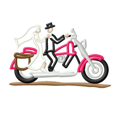 Bride & Groom on Motorcyle