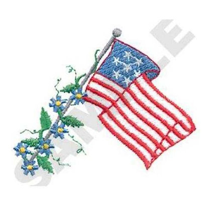 US Flag with Flowers