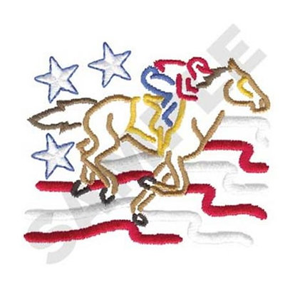 Racehorse with Flag