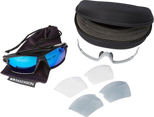 Madison Engage Glasses 3 Pack Gloss Black Frame Blue Mirror/Smoke/Clear Lens