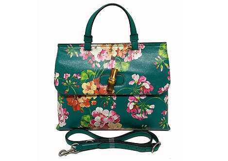 Gucci Bamboo Daily Top Handle Blooms Print