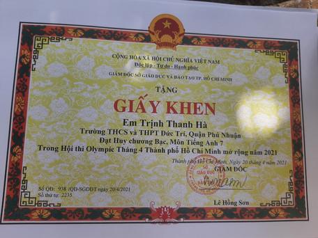 giải bạc tiếng Anh_Trịnh Thanh Hà.