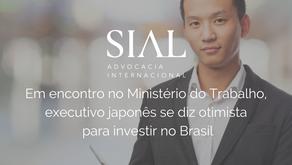 Em encontro no Ministério do Trabalho, executivo japonês se diz otimista  para investir no Brasil