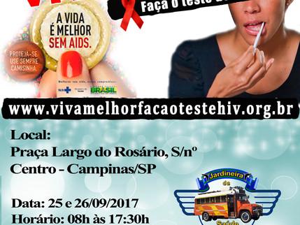 """Projeto """"VIVA MELHOR"""" realizará testagem de HIV no Largo Rosário em Campinas nos dias 25 e"""
