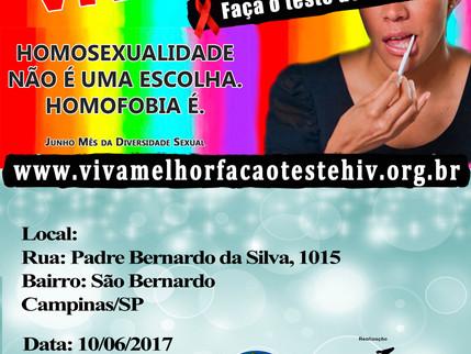 """Projeto """"VIVA MELHOR"""" realizará testagem de HIV no Bairro São Bernardo, Campinas dia 10/06"""