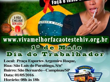 """Projeto """"VIVA MELHOR"""" realizará testagem de HIV em Campinas no dia 01/05/2016"""