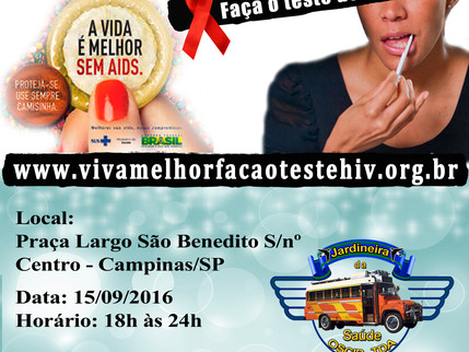 """Projeto """"VIVA MELHOR"""" realizará testagem de HIV no Largo São Benedito em Campinas no dia 1"""