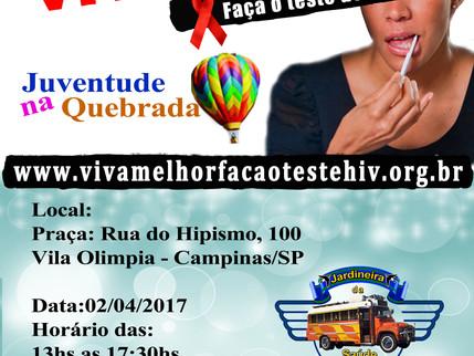 """Projeto """"VIVA MELHOR"""" realizará testagem de HIV na Vila Olímpia em Campinas no dia 02/04/2"""