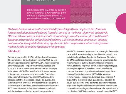 Guia consolidado sobre saúde sexual e reprodutiva e direitos das mulheres vivendo com HIV/AIDS