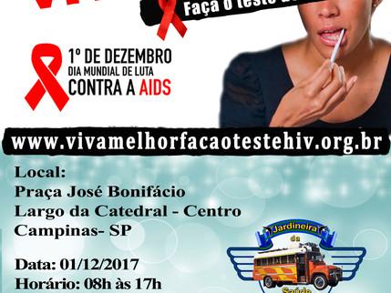 1º Dezembro - Campanha Mundial de Combate a Aids Projeto Viva Melhor Faça Teste de HIV/Aids