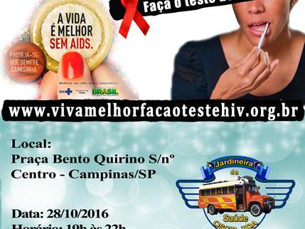 """Projeto """"VIVA MELHOR"""" realizará testagem de HIV na Praça Bento Quirino   em Campinas nos d"""