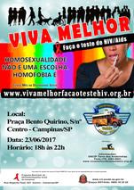 """23/06/2017 - Projeto """"VIVA MELHOR"""" realizará testagem de HIV na Praça Bento Quirino em  Ca"""