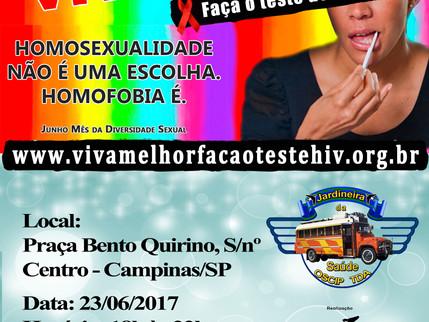 """23/06/2017 - Projeto """"VIVA MELHOR"""" realizará testagem de HIV na Praça Bento Quirino em Cam"""