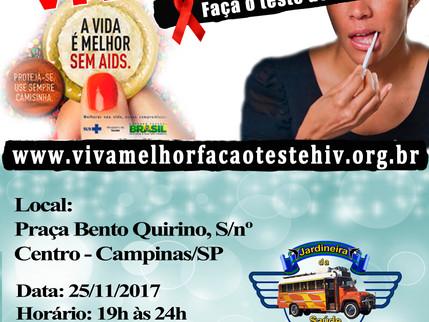 """25/11/2017 - Projeto """"VIVA MELHOR"""" realizará testagem de HIV na Praça Bento Quirino em Cam"""
