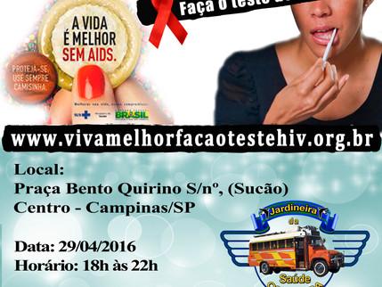 """Projeto """"VIVA MELHOR"""" realizará testagem de HIV em Campinas – SP - 29/05/2016"""